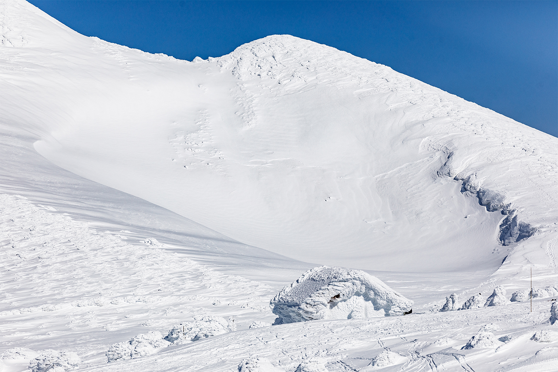 大岳鞍部避難小屋がすっぽり雪の下に。単純な色で創られた広大な雪景色に驚きが連続する