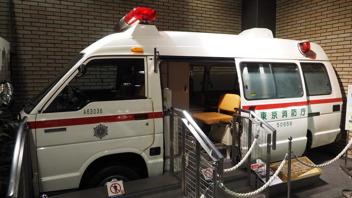 消防博物館に展示されている救急車